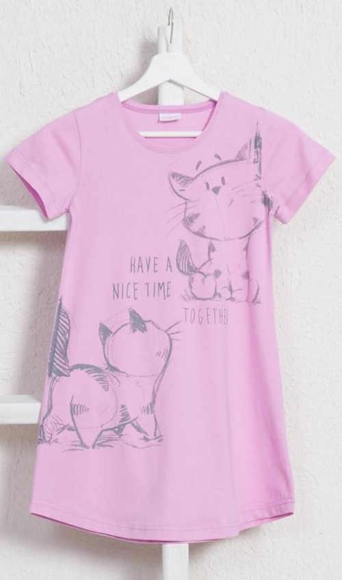 Bavlnená detská nočná košeľa s veselou potlačou mačiek