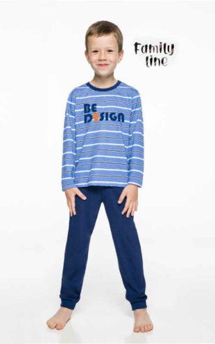 Bavlnené detské dlhé pyžamo v modrom či šedom prevedení