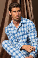 Bavlnené pánske pyžamo s dlhým rukávom vpredu na gombíky