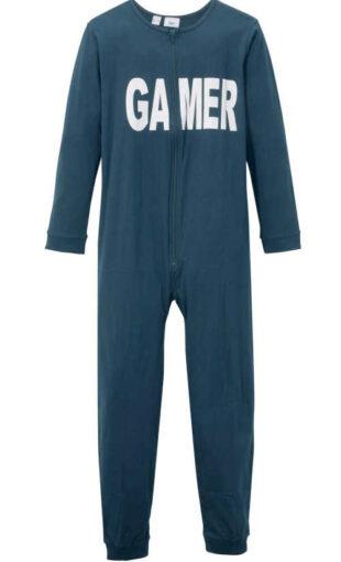 Chlapčenský dlhý bavlnený pyžamový overal s nápisom