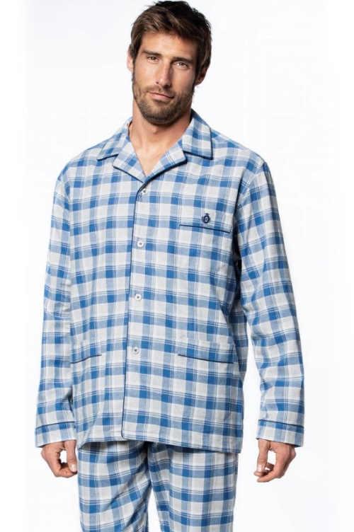 Kockované pánske pyžamo dlhý rukáv