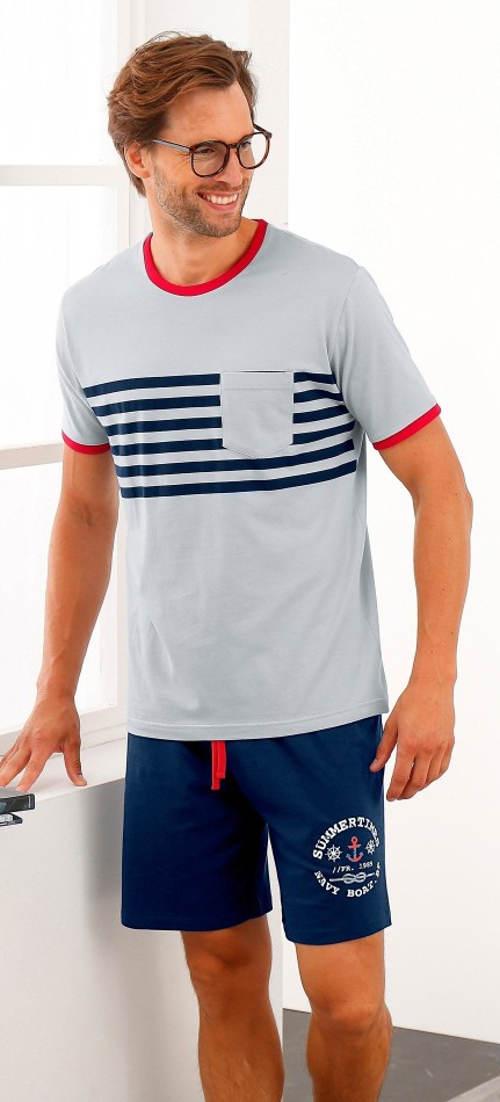 Krátke pánske pyžamo v námorníckom štýle