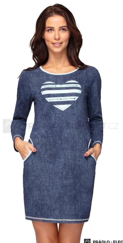 Modrá krátka nočná košeľa s vreckami a vpredu s potlačou