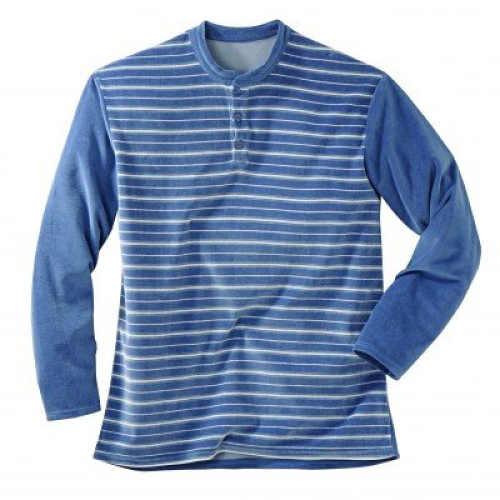 Modré pánske teplé pyžamo s prúžkom
