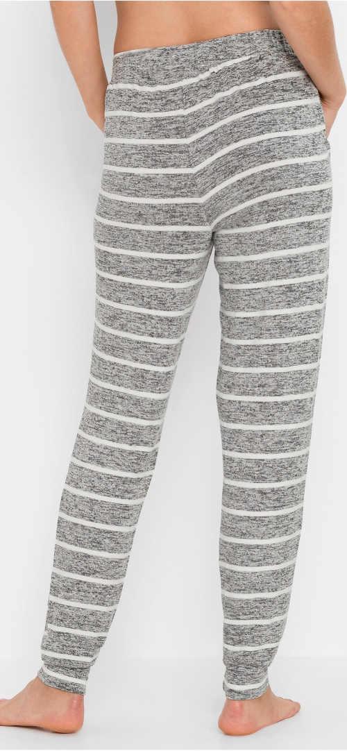 Dlhé šedé dámske pyžamové nohavice s prúžkom