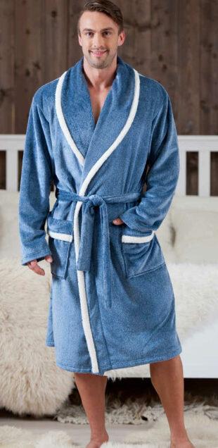 Pánsky župan modrý s bielymi detailmi v dĺžke ku kolenám