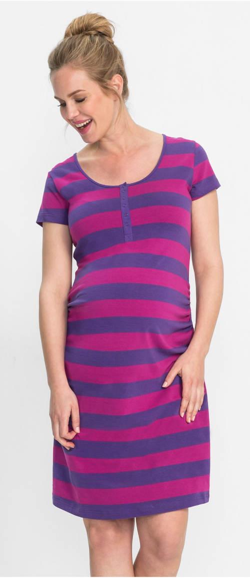 Praktická pruhovaná tehotenská a kojace nočná košeľa
