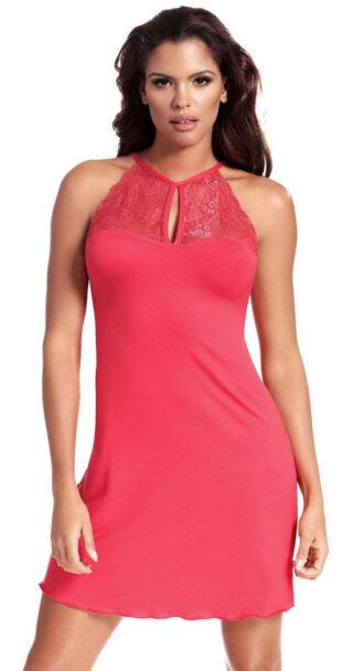 Ružová krajková dámska košieľka s ramienkami za krk