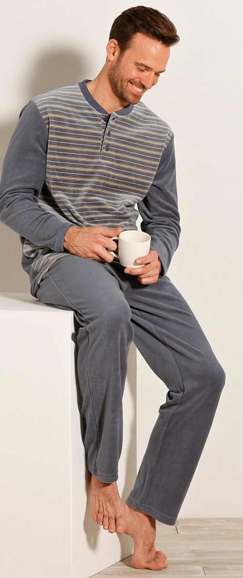Šedé dlhé velúrové pánske pyžamo