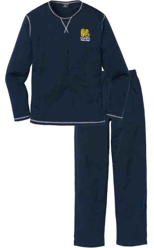 Tmavomodré pánske pyžamo s ozdobnými švami