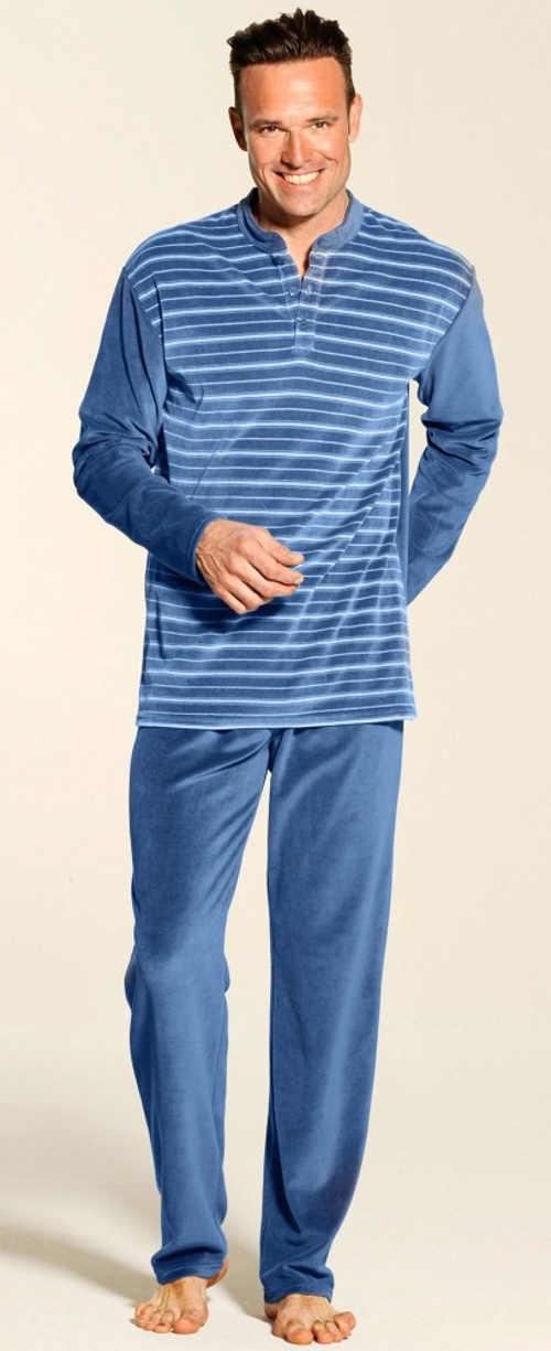 Velúrové pánske pruhované pyžamo
