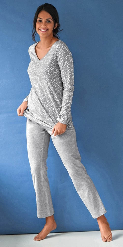 Dlhé bavlnené dámske pyžamo