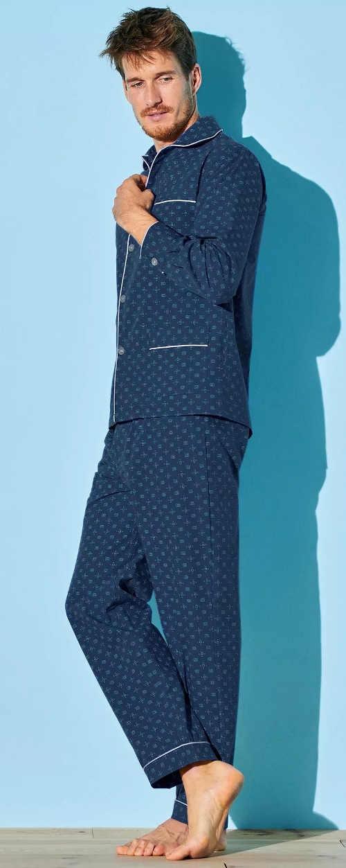 Elegantné prepínací pánske pyžamo tmavomodrej farby