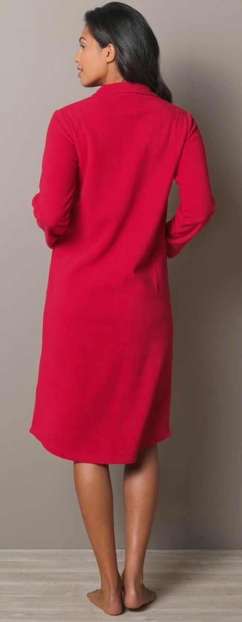 Jednofarebný červený fleecový dámsky župan