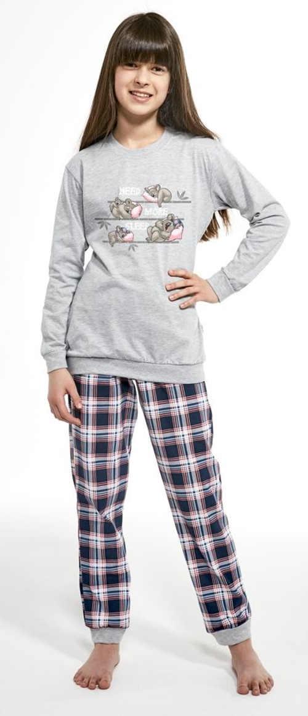 Krásne dievčenské pyžamo s dlhým rukávom s roztomilou potlačou