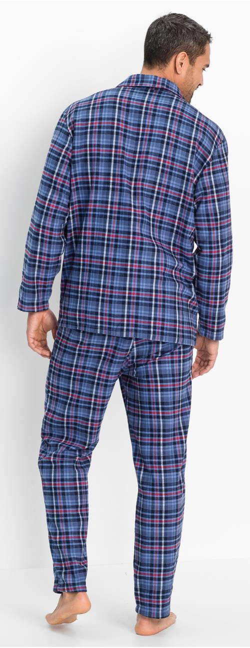 Modré kockované pánske pyžamo