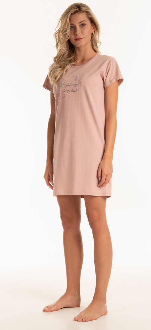 Ružová dámska nočná košeľa