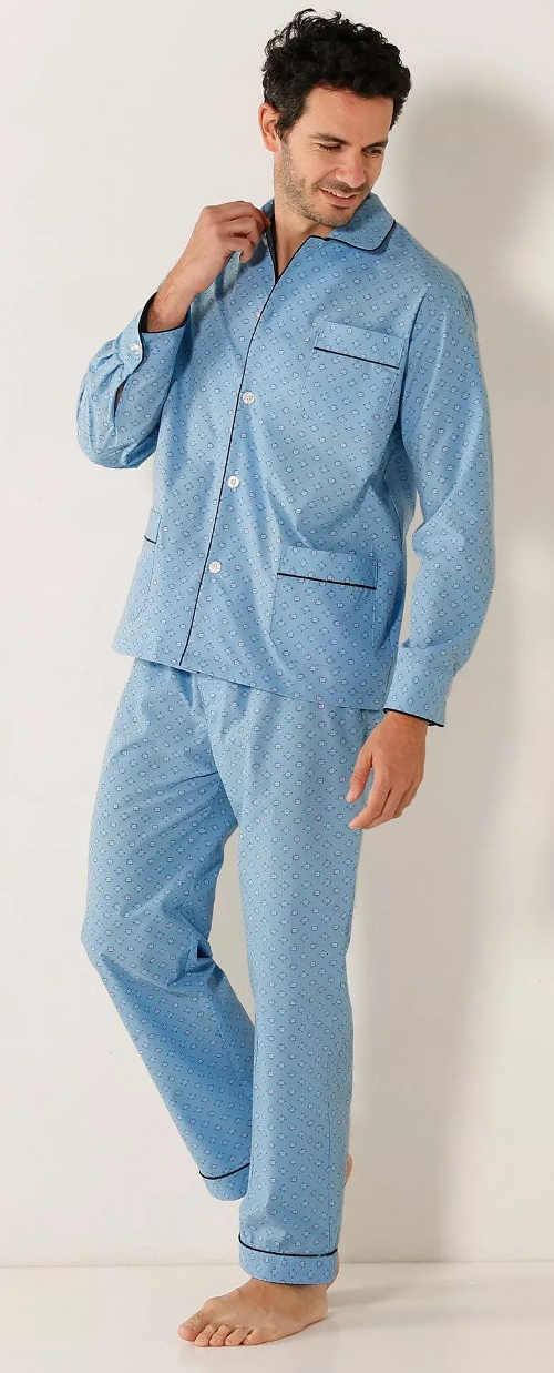 Svetlo modré pánske kabátkové pyžamo