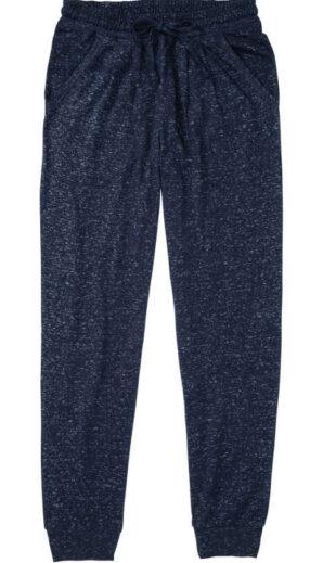 Dámske pyžamové nohavice v páse na stiahnutie v prevedení modrý melír