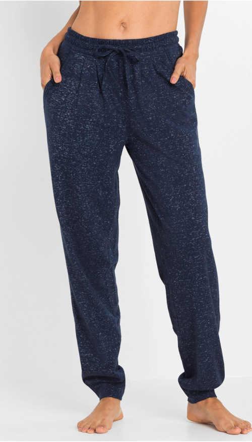 Modré pyžamové dámske nohavice