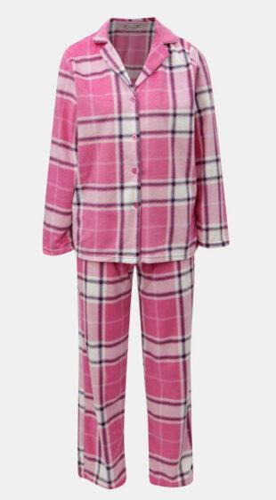 Ružové dámske kárované kabátkové pyžamo