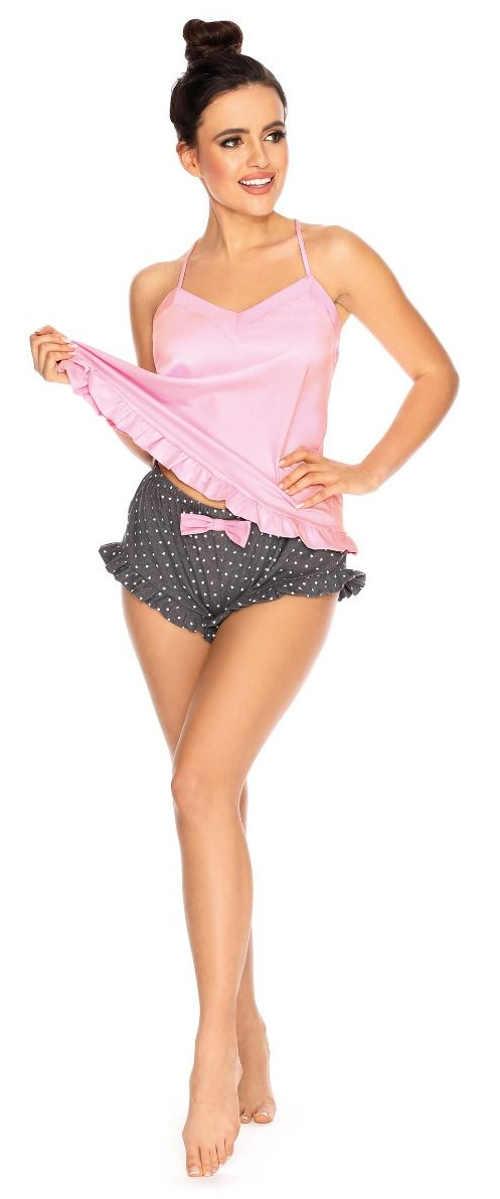 Saténové šedo-ružové kraťáskové dámske pyžamo