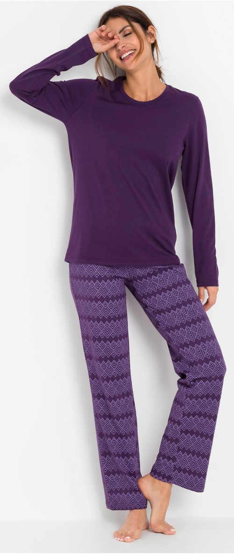 Bavlnené dlhé dámske pyžamo so šnúrkou na zaväzovanie v páse