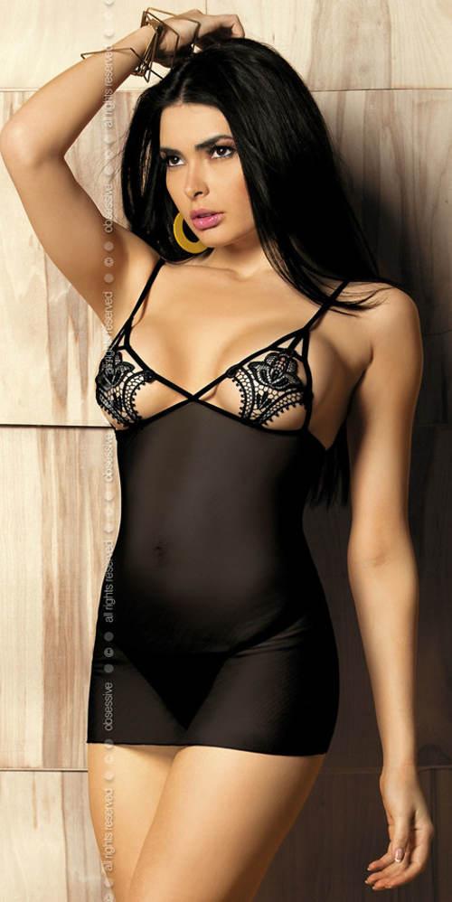 Čierna erotická košieľka Luiza chemise - Obsessive