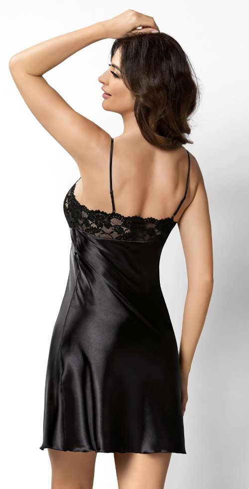 Čierna saténová nočná košeľa s tenkými ramienkami