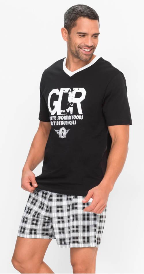 Čiernobiele krátke letné pyžamo
