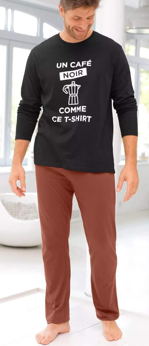 Dvojfarebné pánske dlhé pyžamo s francúzskymi nápismi