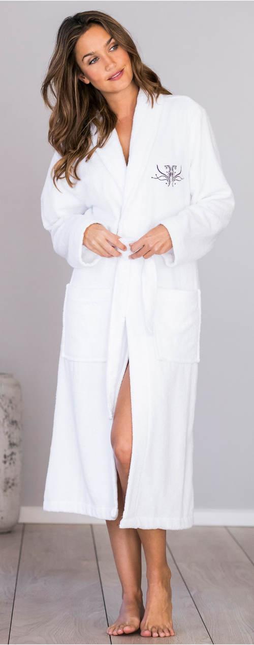 Lacný biely dámsky bavlnený župan