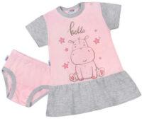 Letná detská ružová a sivá nočná košeľa s hrochom