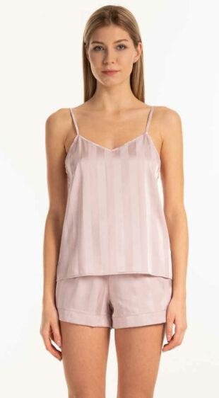 Moderný pyžamový top na ramienka z príjemného saténu