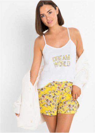 Bavlnené krátke pyžamo so zvodným dizajnom