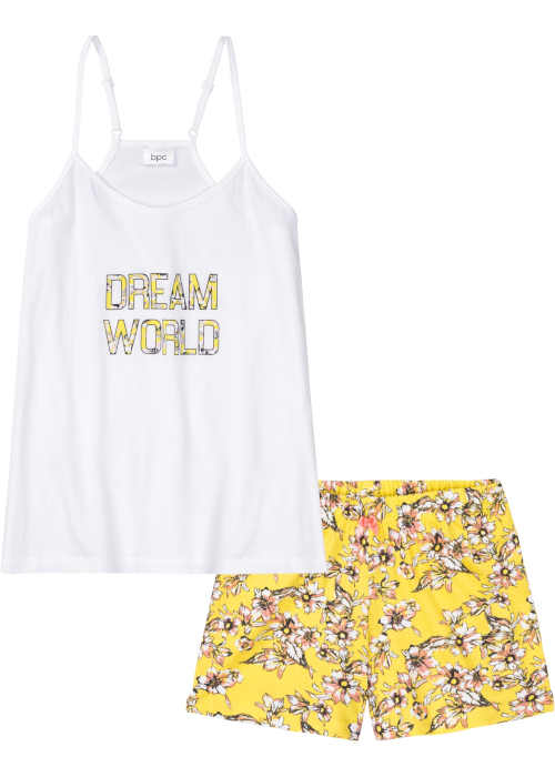 Bielo-žlté dámske krátke pyžamo