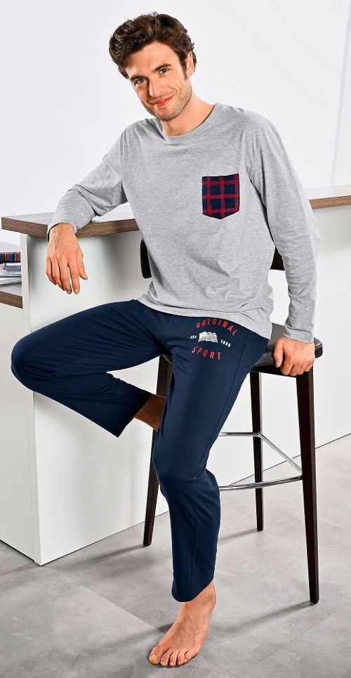 Lacné pánske pyžamo s košeľou s dlhým rukávom