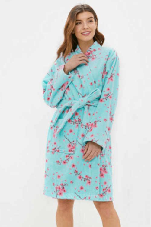 Luxusný dámsky bavlnený župan s dlhými rukávmi