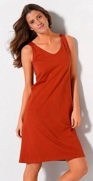 Oranžová dámska nočná košeľa s čipkou na chrbte