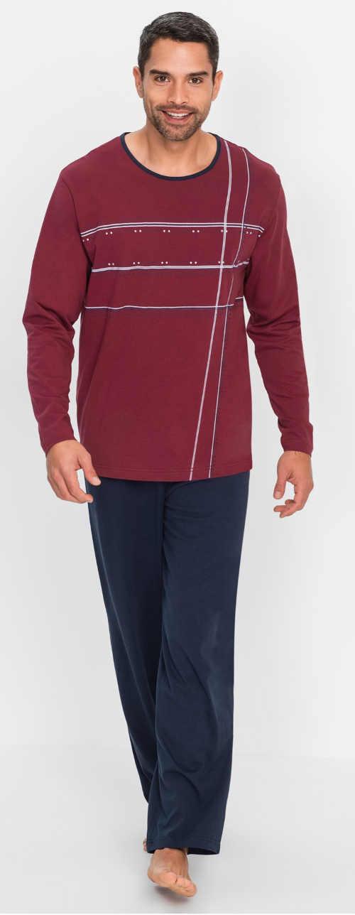 Vínovo-modré dlhé pánske pyžamo