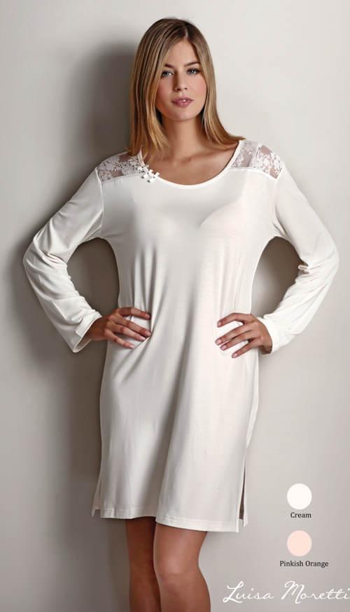 Biela nočná košeľa s čipkovanými vložkami