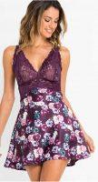 Čipkované nočné negližé s rozšírenou kvetinovou sukňou