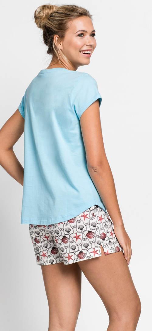 Krátke dámske pyžamo s modrým tričkom