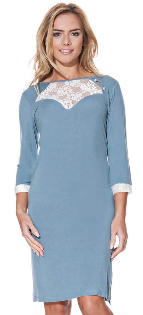 Modro-šedé pohodlné bambusové tričko s 3/4 rukávmi