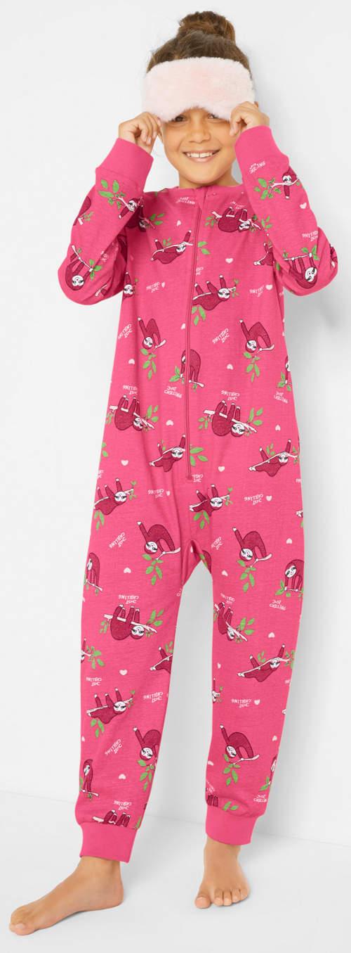 Ružový dievčenský overal na spanie so zipsom