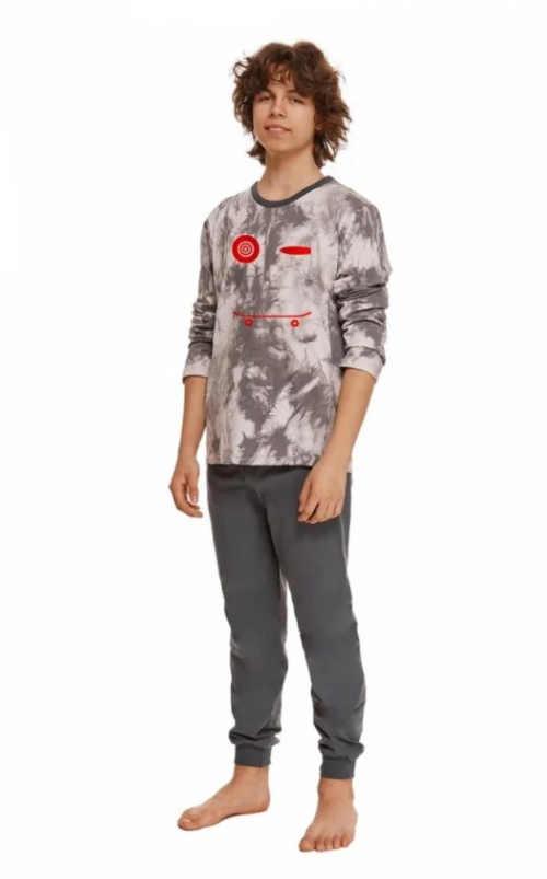 Bavlnené chlapčenské dlhé pyžamo s modernou potlačou