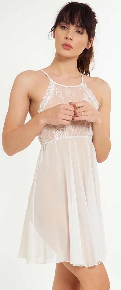 Luxusná priehľadná nočná košeľa s čipkou