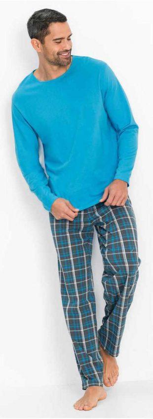 Modré pánske pyžamo s elastickým výstrihom